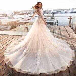 Chapel Train Bridal Gowns Long Sleeves Lace Appliques A-Line Wedding Dresses Autumn Lady Robe De Novia 2020 Bride Bridal Dress
