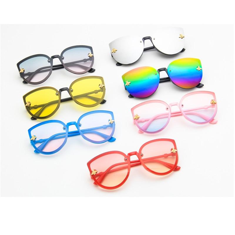 Cute Little Bee Children Cat Eye Sunglasses Ocean Lenses Frame Kids Cateye Sun Glasses Girls Boys Sh