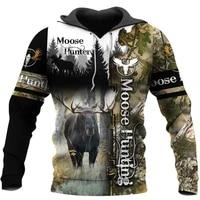 moose hunting camo 3d print hoodies menwomen harajuku fashion hooded sweatshirt autumn hoody casual streetwear hoodie sl 058