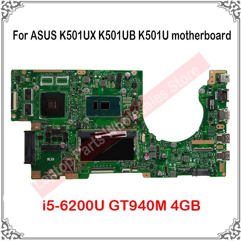 اختبار i5-6200U GT940M 4GB اللوحة الرئيسية ل ASUS K501UX K501UB K501U اللوحة استبدال