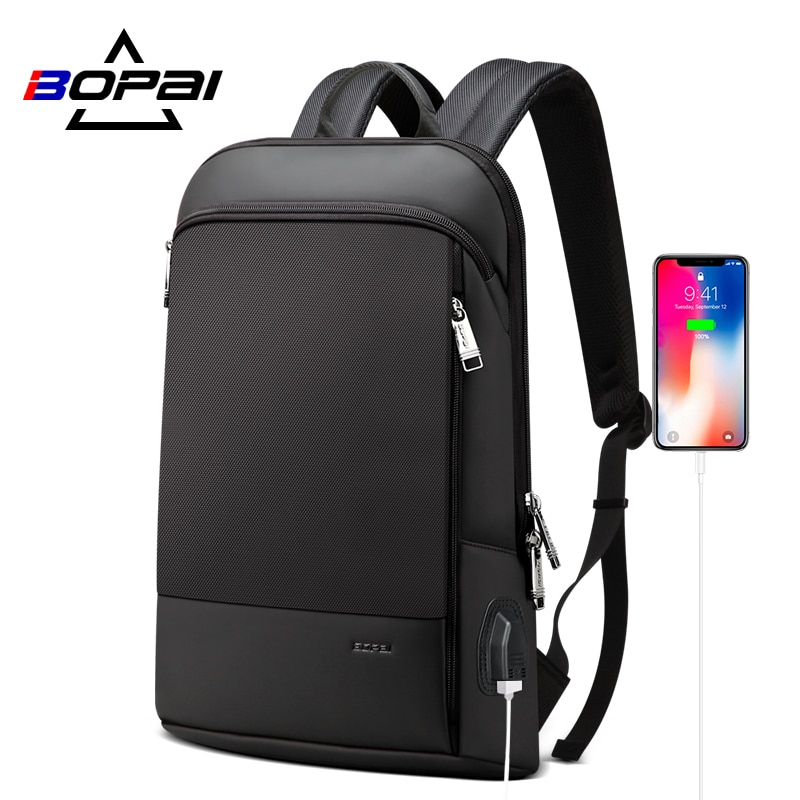 BOPAI New Slim Laptop Backpack Men USB 15 Inch Backpack Anti Theft Backpack Waterproof Business Bagpack For Women anti theft backpack harry styles print 2020 new men s laptop backpack men s travel backpack business backpack