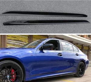 ABS GLOSS BLACK CARBON FIBER ROCKER PANELS SIDE BODY SKIRTS KIT LIP COVER FOR BMW 3 Series G20 G28 2019 2020 2021 2022