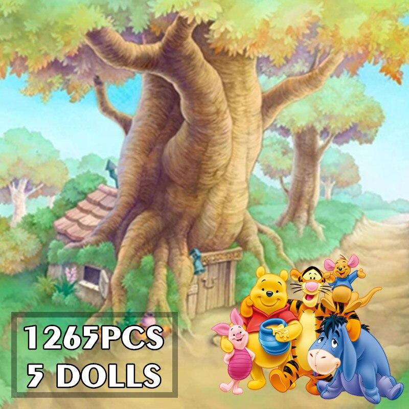 2021 новый в наличии 1265 шт. с Винни-пухом дерево Винни Пуха дом медведь конструкторных блоков, Детские кубики, игрушки для детей, подарки на ден...