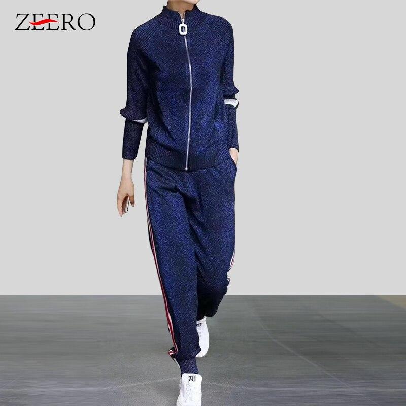 Outono 2019 2 peça define moda das mulheres zíper brilhando cardigans de malha + listrado calça terno roupas de treino feminino