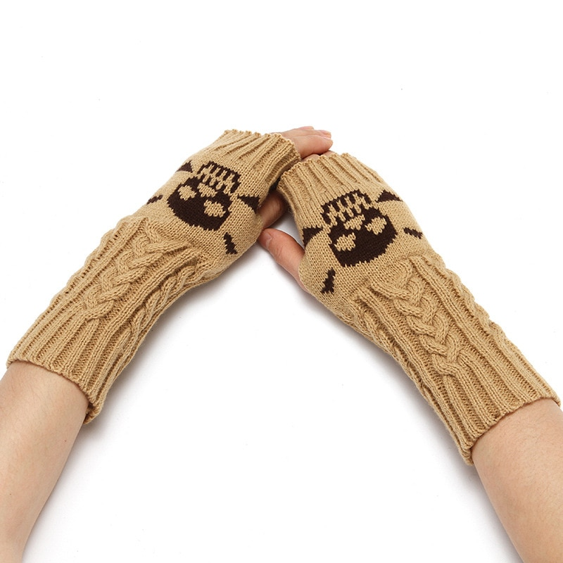 warm winter safety glove split cow leather welding work glove Glove Winter Unisex Half Finger Wool Keep Warm Knitting Glove Winter Short Gloves Arm Sleeve Fingerless Warm Gloves