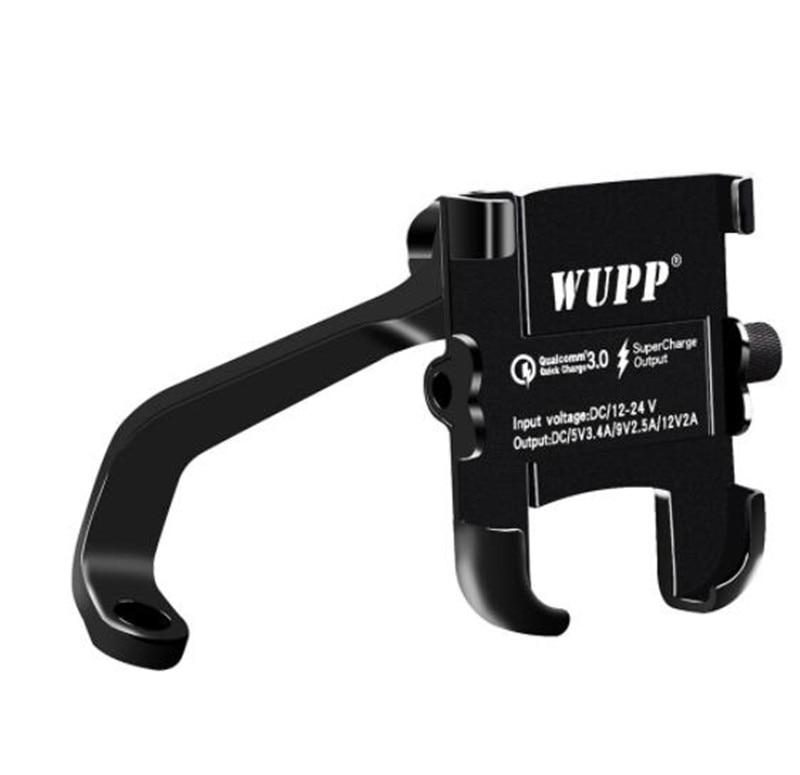 Nuevo soporte de teléfono Universal QC 3,0 motocicleta cargador USB resistente al agua 12V motocicleta montura para teléfono móvil adaptador de corriente espejo montaje