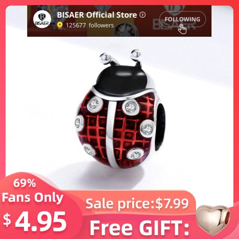 BISAER Ladybug Charms Insect Beads 925 Sterling Silver Red Enamel Animal Pendant Fit Original Bracelet DIY Necklace ECC1481