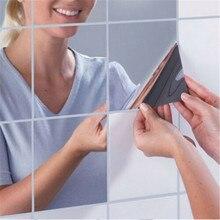 9 pièces/ensemble carré miroir tuile auto-adhésif squre autocollant mural maison salle de bain décor bâton étanche miroir stickers muraux # Y20