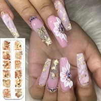 12 grids gold nail sequins butterfly metallic slice glitter 3d acrylic nails flakes manicure decoration 25 style
