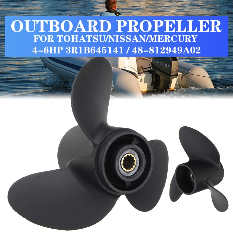 7.8 x 7Boat Propeller For Tohatsu Nissan Mercury 4-6HP Aluminum Alloy Marine Outboard Propeller 3R1B645141 / 48-812949A02