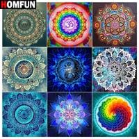 Алмазная 5D картина HOMFUN с квадратными и круглыми сверлами, Экологически чистая Алмазная вышивка, с мотивом мандалы, калейдоскопа, домашний д...