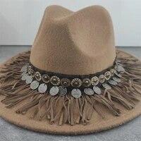 boho women wide brim wool felt fedora panama hat with belt buckle jazz trilby cap party formal top hat in brown