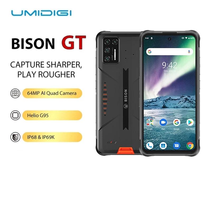 Перейти на Алиэкспресс и купить UMIDIGI BISON GT водонепроницаемый прочный телефон 6,67 дюймFHD + 8 Гб + 128 Гб 64 мп AI Quad Camera Helio G95 смартфон 33 Вт быстрое зарядное устройство