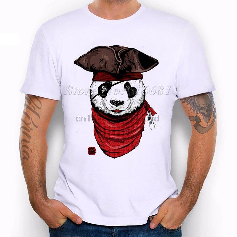 Pirate Panda Bear Stylish Hat Red Scarf  Eyepatch Funny Joke Men T Shirt Tee Cartoon Print Short Sleeve T Shirt Free Shipping