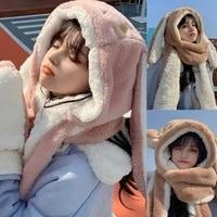 kawaii cartoon rabbit ears hat women cute warm winter thick warm long hoodies neck scarf with mittens windproof set