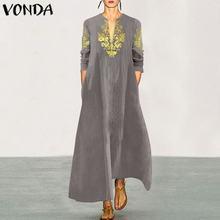 VONDA Plus Size Party Dress Womens Cotton Vintage Printed Robe Femme Casual Loose Sundress Autumn Sexy V neck Beach Vestidos