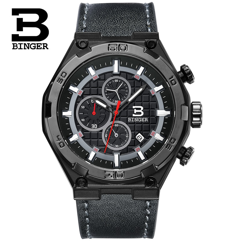 BINGER-ساعة كوارتز رياضية للرجال ، ماركة سويسرية فاخرة ، كرونوغراف متعدد ، مقاومة للماء ، B8229