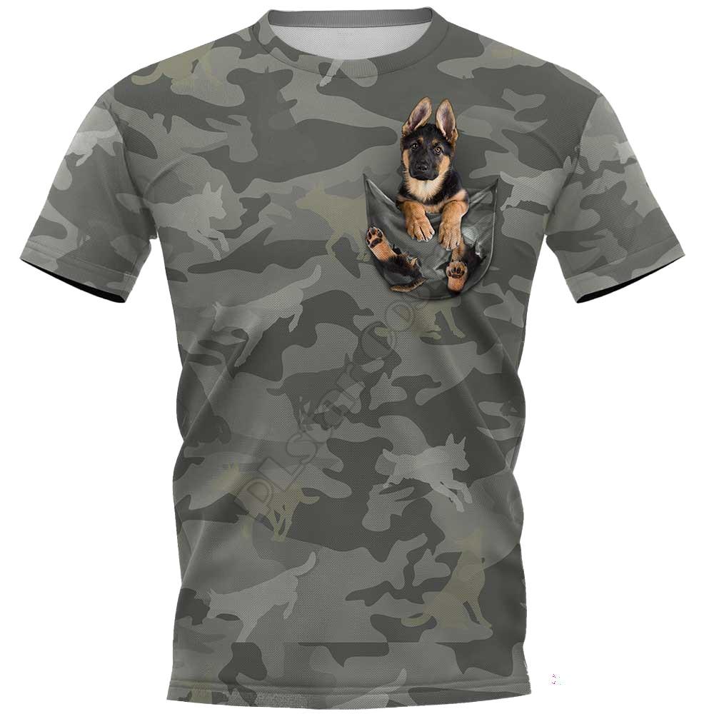 Камуфляжные футболки с 3D-принтом немецкой овчарки, женские и мужские летние повседневные футболки, футболки с коротким рукавом, Забавные фу...