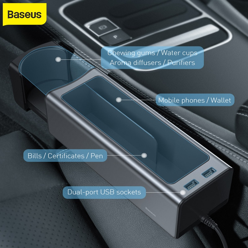 Baseus صندوق تخزين السيارة العالمي سيارة المنظم صندوق تخزين USB المزدوج تهمة ل منظم جيوب محفظة السجائر مفتاح الهاتف Holde