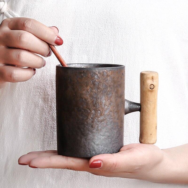 النمط الياباني خمر قدح قهوة من السيراميك بهلوان الصدأ الصقيل الشاي جعة الحليب القدح مع مقبض الخشب كوب ماء المنزل مكتب درينكوير