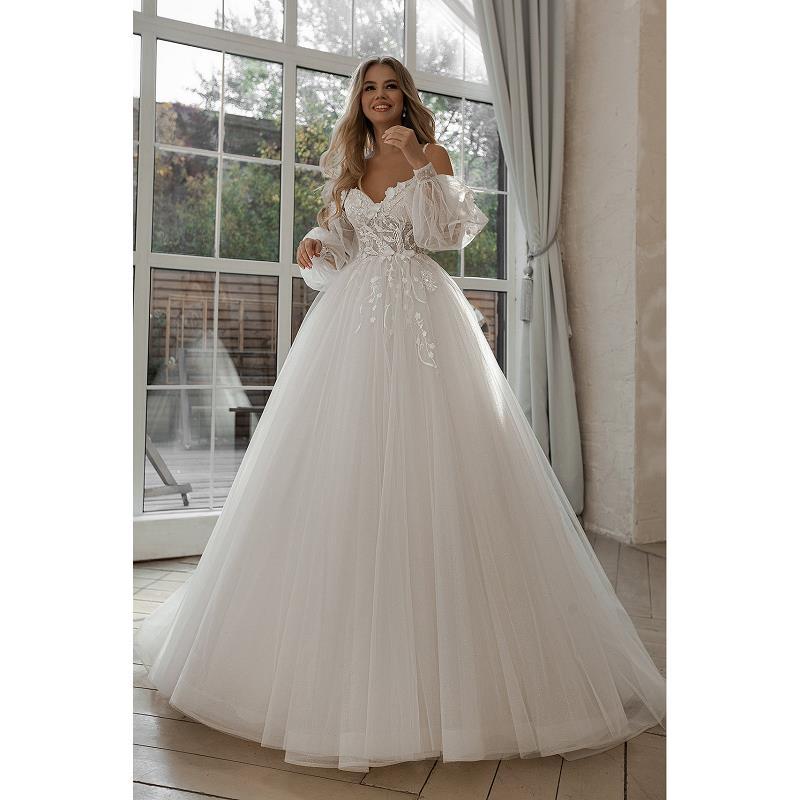 Review 2021  Sweetheart Wedding Dress Sweep Train Applique Puff Sleeve Off The Shoulder Tulle Boho Bride Gown Elegant vestidos de novia