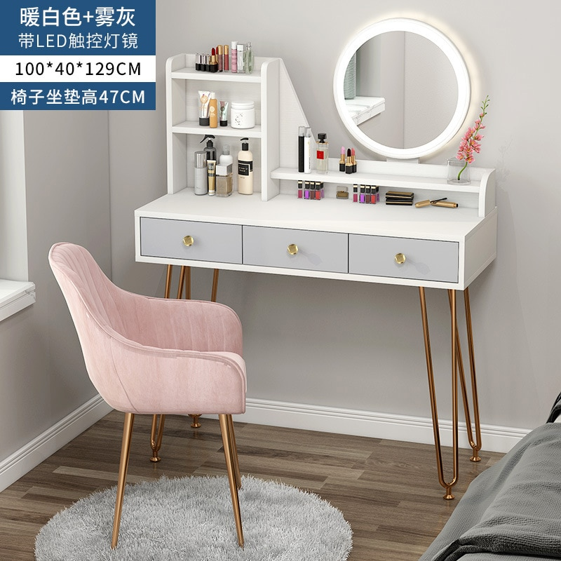 Роскошный легкий туалетный столик светодиодный светильник кой для спальни, простой шкаф для хранения, один маленький туалетный столик, туа...