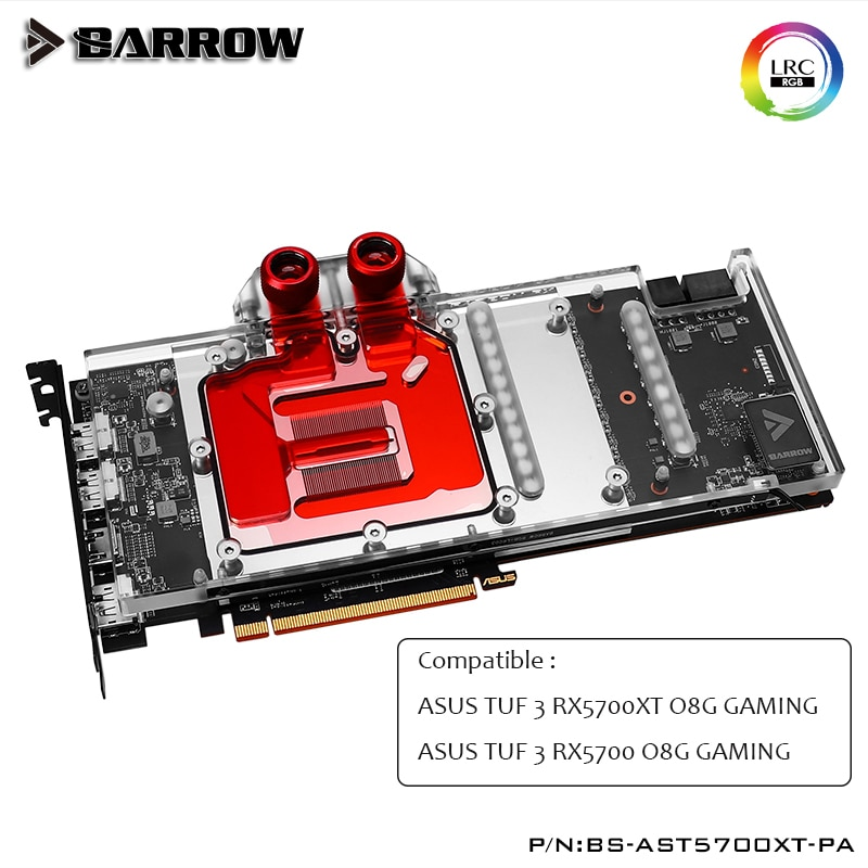 Review Barrow GPU Water Block for ASUS TUF  RX5700XT,5700  O8G GAMING Full Cover graphics card GPU Cooler BS-AST5700XT-PA,heatsink