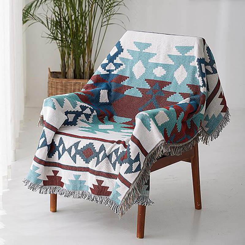 Manta de punto con borla decorativa para el hogar de algodón Jacquard funda de toalla de sofá mantas de hilo indio tapiz colgante de pared a cuadros