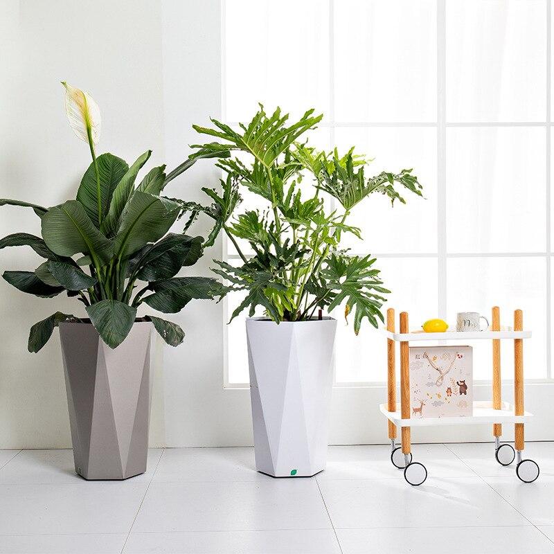 Yaratıcı otomatik su emme kare plastik reçine saksı kalınlaşmış ev tembel saksı bitkileri bonsai saksısı