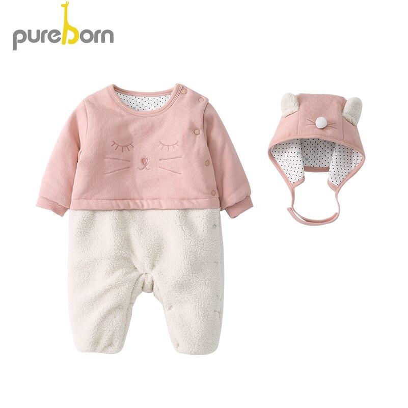 Pureborn الصوف بذلة + قبعة 2 قطعة الوليد طفل رضيع فتاة الملابس تسلق رومبير الرضع عموما الملابس مجموعات الشتاء الربيع