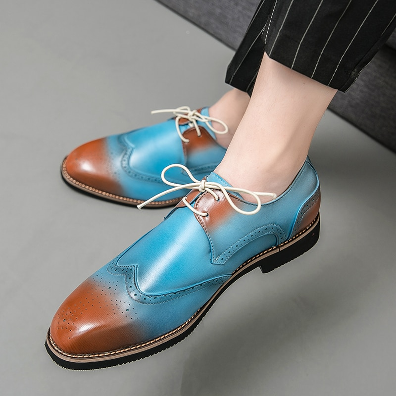 Italian Mens Dress Shoes Genuine Leather Oxfords Men Wedding Shoes Party Formal Shoes Bullock Shoes Designers Plus Size Shoes shoes mens dress shoes genuine leather blue purple oxfords men wedding shoes party whole cut formal shoes for men