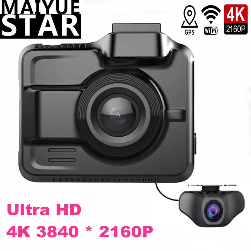 Maiyue star true 4K Ultra HD 3840*2160 p Двойная камера с объективом, Автомобильный видеорегистратор, встроенный gps, Wi-Fi, камера заднего вида, full HD, объектив 1080P
