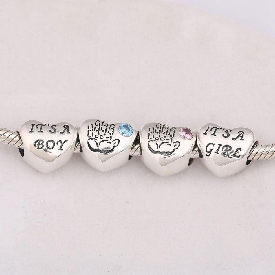 Auténticas cuentas para bricolaje de joyería S925 compatibles con pulsera Pandora brazalete azul Rosa CZ encanto de niña y niño