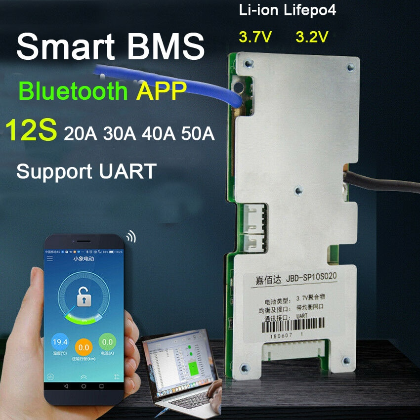 Inteligente BMS 12S 60A 40A 30A 20A Lifepo4 Li-ion de hierro de litio Placa de protección de batería W equilibrio BMS Bluetooth APP software monitor