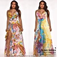 2021 summer hot style womens sexy lacy split print halter dress sleeveless v neck beach resort dress