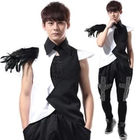 nightclub male singer bar dj shirt rock punk ds costume feather vest ds performance costume male mens trench coat jacket 2020