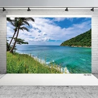 scenic seaside palm tree flowers photography backdrops vinyl cloth backgrounds for children photoshoot photo studio