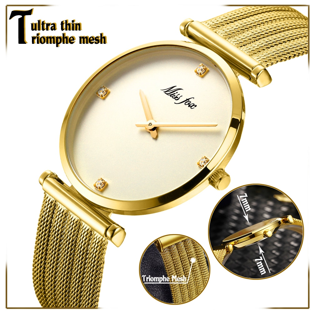 MISSFOX Minimalist Women's Watch Top Sell 2019 Stainless Steel Bracelet Ladies Watches Gold Diamond Brand For Women Quartz Clock enlarge