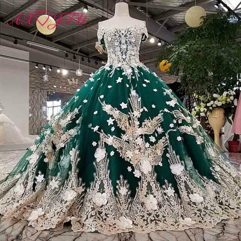 AXJFU luxury princess beading crystal flower green lace wedding dress vintage boat neck white lace flower wedding dress 4120