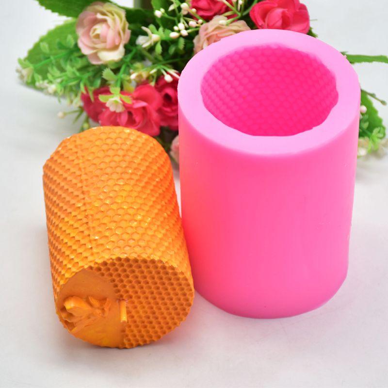 3D cilindro abeja panal silicona vela molde jabón arcilla hacer DIY torta herramienta