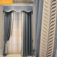 french luxury high end flannel embroidery lace stitching thickening blackout curtains for living room bedroom customization