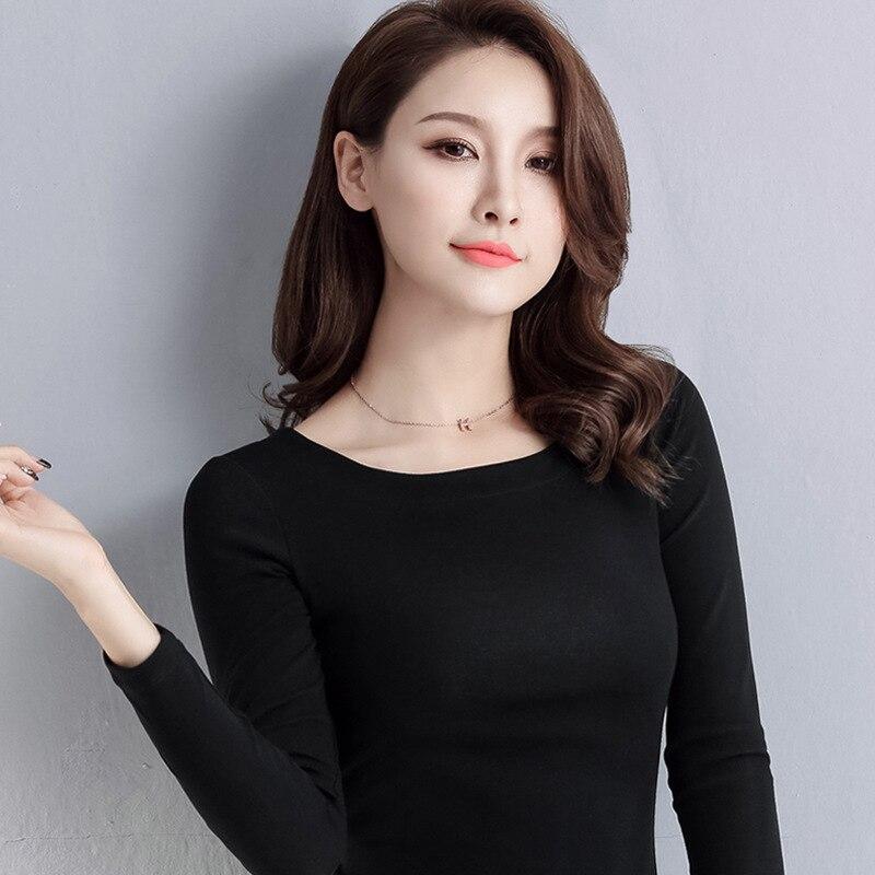 Blanco y negro con patrón de manga larga Camiseta mujer ajuste Delgado 2019 otoño e invierno nuevo estilo Semi-Crew cuello ropa interior