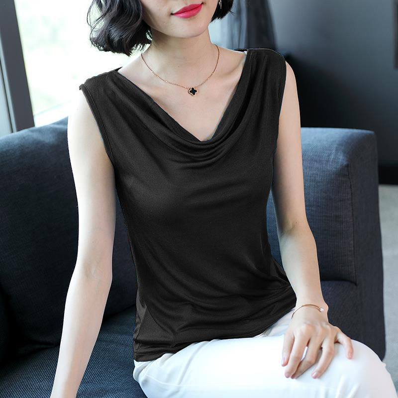 High Quality Hot Sale Fashion Women Casual Style Satin Silk V Neck Lace Vest Tops Strappy Summer Beach Cami Tank Top
