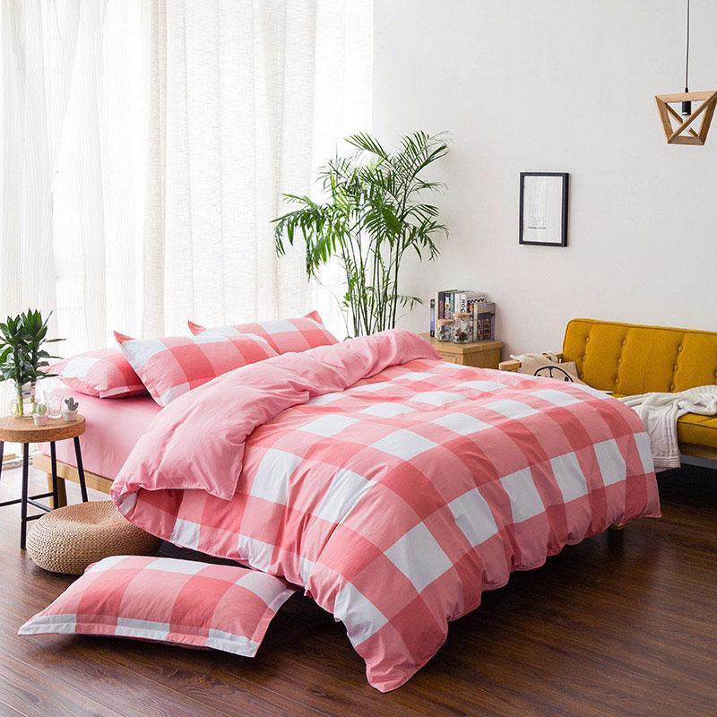 Rojo cuadros geométricos impreso chica chico cama cubierta de funda nórdica para cama de niño de fundas de edredón de cama 61016