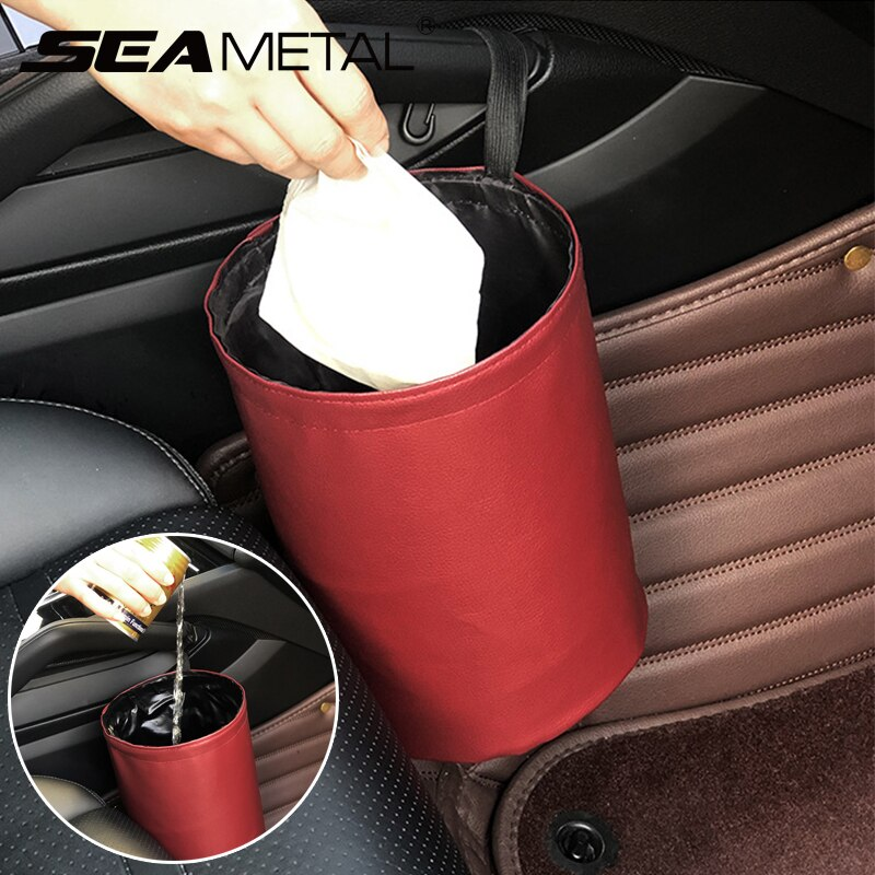 Contenedor de basura Interior para almacenamiento de coche, soporte organizador de residuos, contenedor Universal para Cubo de basura, cubo de basura, organizador plegable para coche