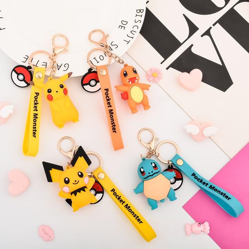 Llavero con personaje de animación en 3d, llavero Pokemon Go, bonitos dibujos animados de Pvc, llavero con colgante de monstruo Pikachu, regalo