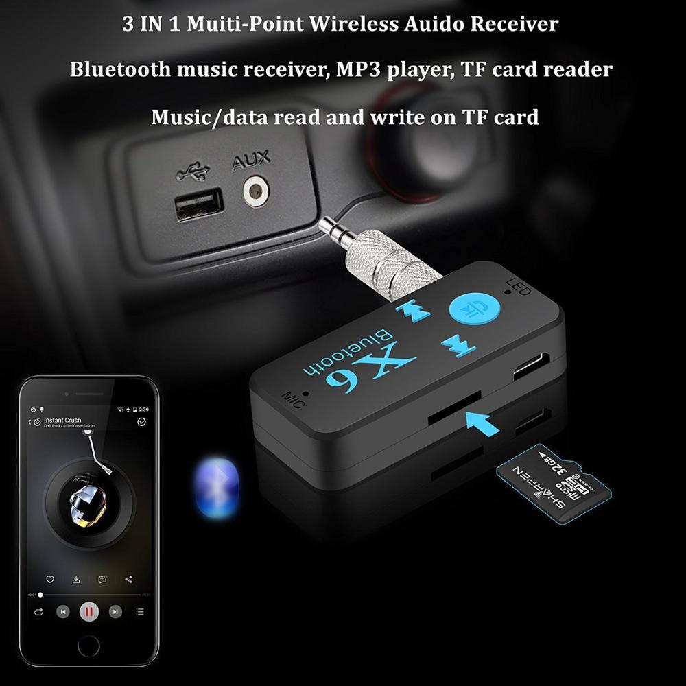 Универсальный Bluetooth-ресивер GIAUSA X6, V4.1, поддержка TF-карты, громкая связь, музыкальный проигрыватель, автомобильный музыкальный mp3-плеер со вхо...