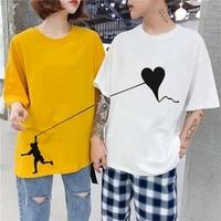 2021 new couples womens t shirt summer t shirt loose korean oversize short sleeves o neck casual cotton streetwear women top