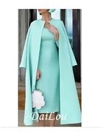 two piece sheath column mother of the bride dress elegant jewel neck knee length stretch fabric half sleeve 2021