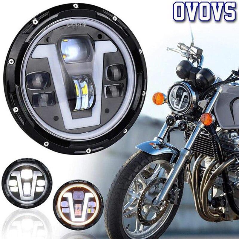 7 بوصة LED مصباح أمامي مستدير Mortorcycle كشافات الأبيض و العنبر هالو ل هارلي ديفيدسون Honda-CB400 CB1300 هوندا الدبور